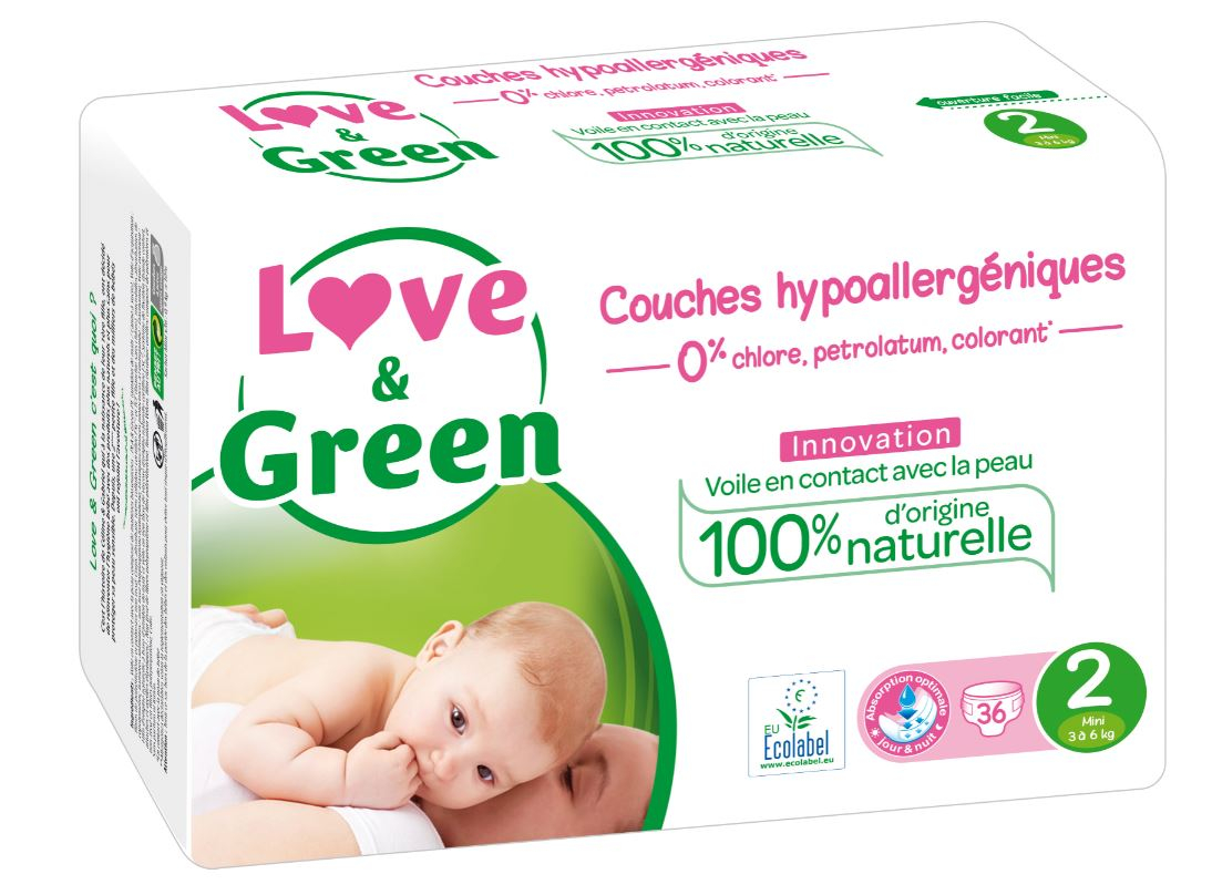 Couches Hypoallergénique Taille 2 LOVE AND GREEN
