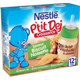 Nestlé P'tit Dej - Brique lait & céréales biscuit noisette