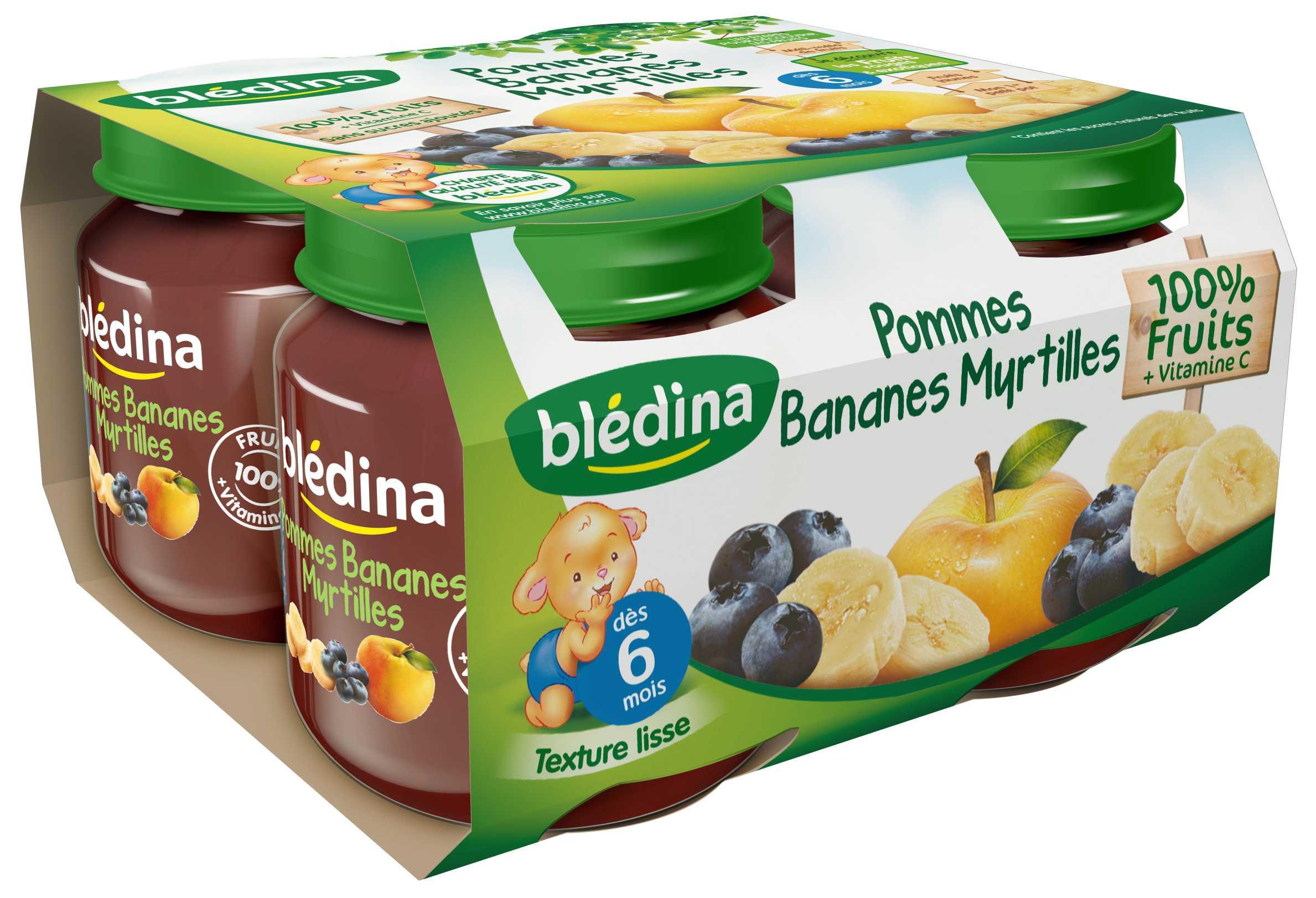 Pot Pommes Bananes Myrtilles 4x130g