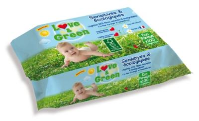 Lingettes sensitives écologiques LOVE AND GREEN