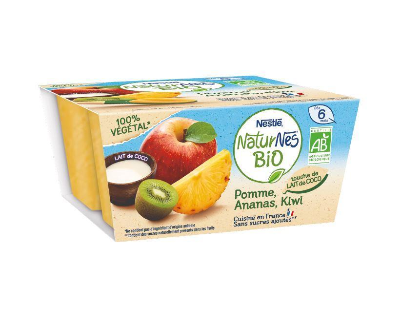 Naturnes BIO VEGETAL Pomme, Ananas, Kiwi, touche de lait de coco