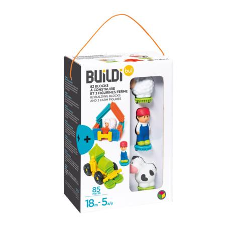 82 blocks à construire et 3 figurines ferme - Buildibul OXYBUL 2