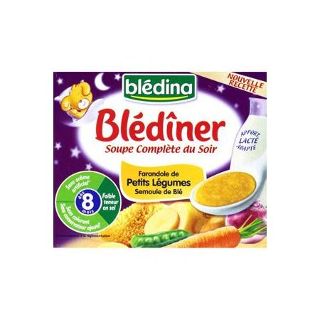 BLEDINER Soupe complète du soir - Farandole légumes/semoule 2x250ml BLEDINA 1
