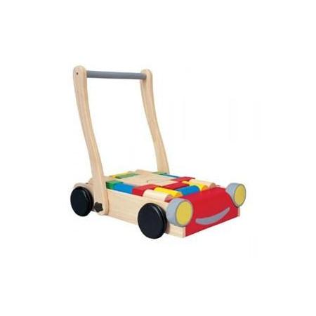 Chariot de marche en bois avec cubes 1