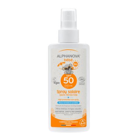 Spray solaire bébé bio SPF 50 ALPHANOVA 1