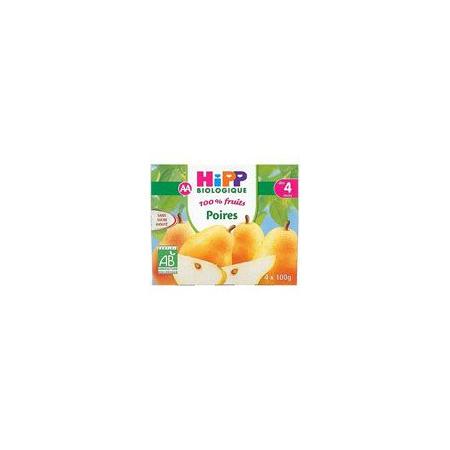 Poires 100% fruits - 4 coupelles x 100g - 4 mois HIPP 1