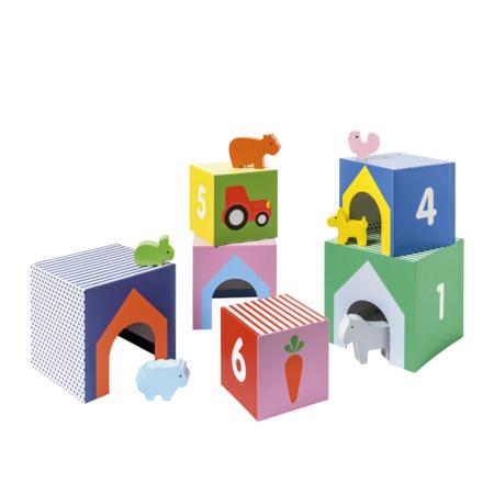 Cubes imagiers empilables et animaux en bois - Manibul OXYBUL 1