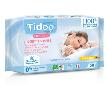 Lingettes Bébé Compostables au Calendula - Sans Parfum TIDOO 1