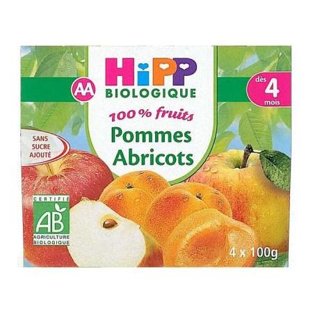 Pommes Abricots 100% fruits - 4 coupelles x 100g - 4 mois HIPP 1