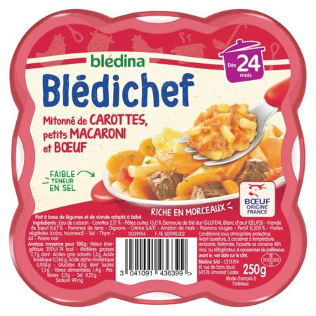 BLEDICHEF Mitonné de carottes, petits macaroni et boeuf BLEDINA 1