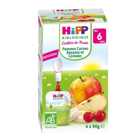 Mes fruits Bio : Gourde pomme, cerises, bananes et céréales HIPP 1