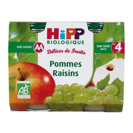 Pommes Raisins - 2 pots x 190g - 4 mois 1