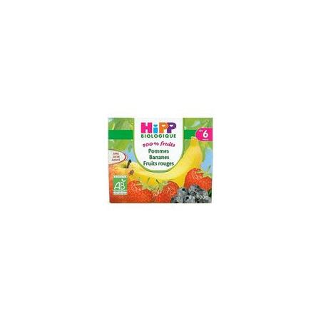 Pommes Bananes Fruits rouges 100% fruits - 4 coupelles x 100g - 6 mois HIPP 1