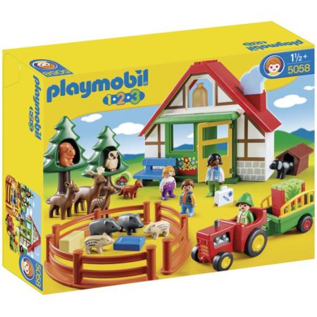 Playmobil 1.2.3 - Coffret Maison forestière et animaux PLAYMOBIL 1