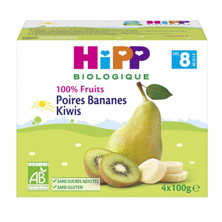 Poires Kiwiw Bananes 100% fruits - 4 coupelles x 100g - 8 mois 1