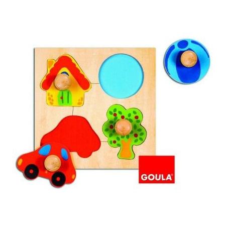 Encastrement puzzle 4 pièces en bois couleur GOULA 1