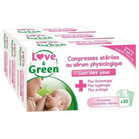 Compresses stériles au Sérum Physiologique LOVE AND GREEN 1