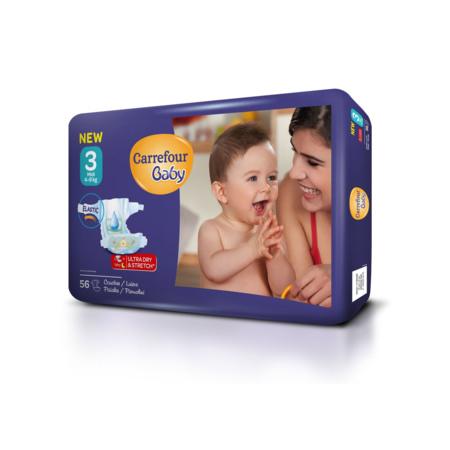 Couches bébé 4-9 kg Midi (x56) CARREFOUR 1