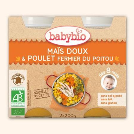 Petit Pot Menu Maïs Doux & Poulet Fermier du Poitou  BABYBIO 1