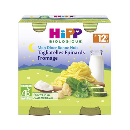 Menu Bonne Nuit Tagliatelles Epinards Fromage - 2 pots x 250g - 12 mois HIPP 1