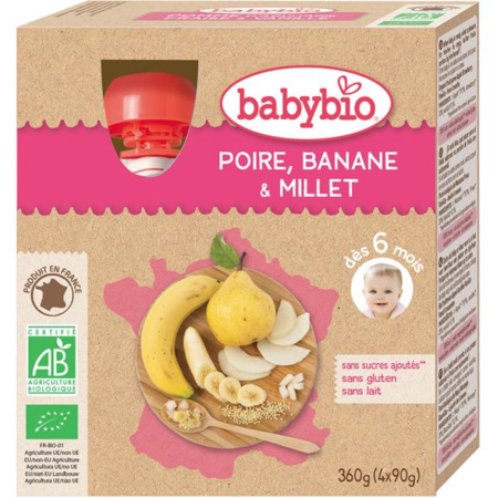 Mes fruits bio : gourde poire, banane et millet BABYBIO 1