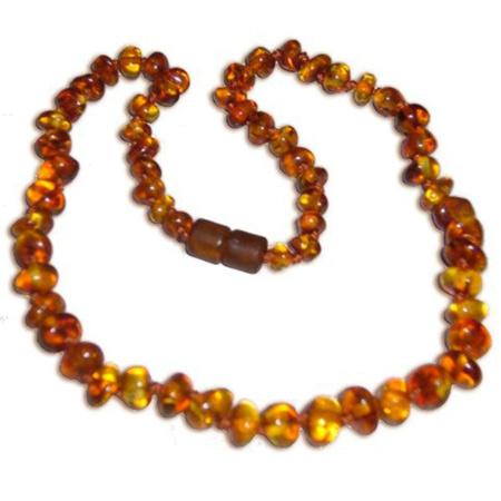Collier en perles d'ambre lisses UN AMOUR D'AMBRE 1