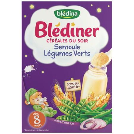 BLEDINER céréales du soir, semoule, légumes verts BLEDINA 1