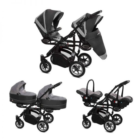 Poussette Trio Twinni Premium + 2 nacelles + 2 sièges auto Silver 1