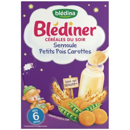 Blédiner Céréales du soir - Semoule, petits pois et carottes BLEDINA 1