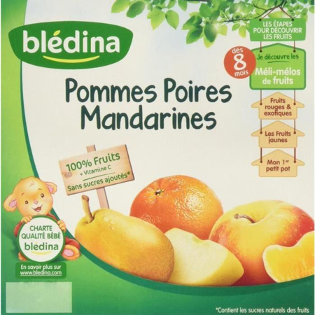 Coupelle de fruits Pomme-Poire-Mandarine (x4) BLEDINA 1