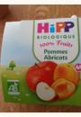 avis Pommes Abricots 100% fruits - 4 coupelles x 100g - 4 mois par Laura