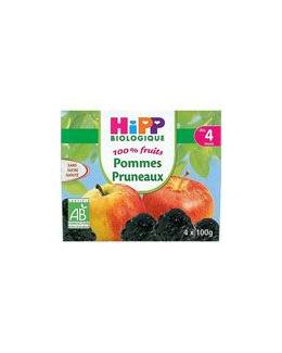 Pommes Pruneaux 100% fruits - 4 coupelles x 100g - 4 mois