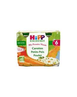 Carottes Petits pois Poulet - 2 pots x 190g - 6 mois