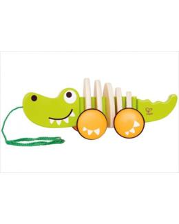 Crocodile à tirer en bois