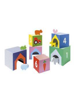 Cubes imagiers empilables et animaux en bois - Manibul