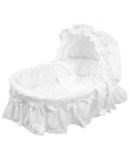 Couffin en osier broderie Anglaise