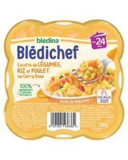 BLEDICHEF Cocotte de légumes, riz et poulet au curry doux