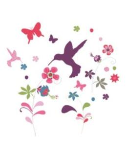 33 stickers fleurs et oiseaux chambre fille