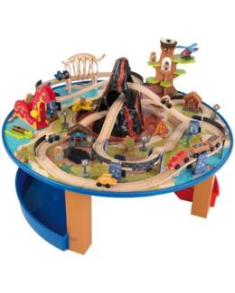 Ensemble table et circuit de train Dinosaure