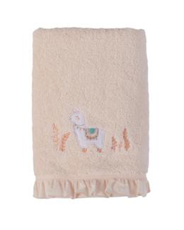 Serviette de toilette bouclette de coton biologique broderie lama Inca
