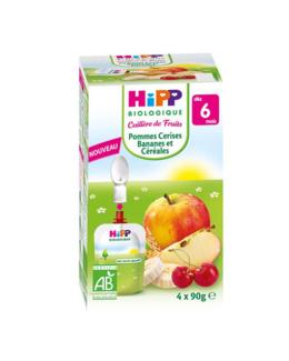 Mes fruits Bio : Gourde pomme, cerises, bananes et céréales