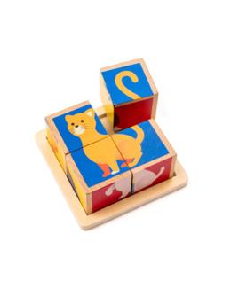 4 cubes puzzle en bois animaux