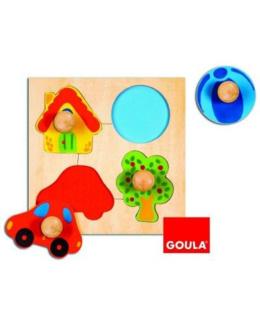 Encastrement puzzle 4 pièces en bois couleur