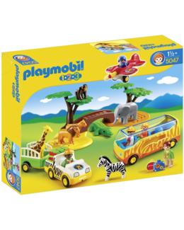 Playmobil 1.2.3 - Animaux de la savane avec gardien et touristes