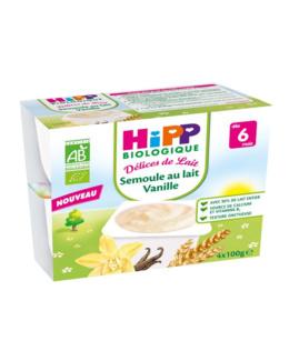 Semoule au lait Vanille - 4 coupelles x 100g - 6 mois
