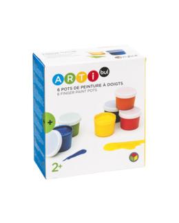 6 pots de peinture à doigts