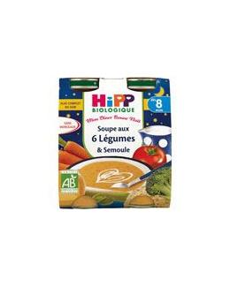 Soupe aux 6 Légumes Semoule - 2 briques x 250ml - 8 mois