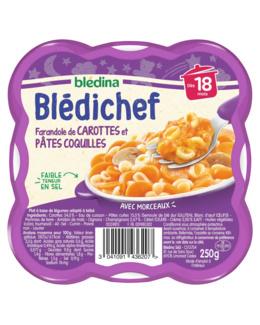 BLEDICHEF Farandole de carottes et pâtes coquilles