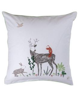 Taie d'oreiller carrée pur coton biologique imprimé animaux de la forêt Orée