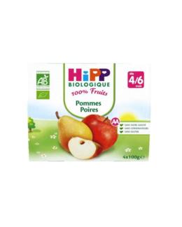 Pommes Poires 100% fruits - 4 coupelles x 100g - 4 mois